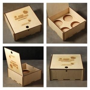 Подарунковий бокс дерев'яний (на 4 банки по 200г)